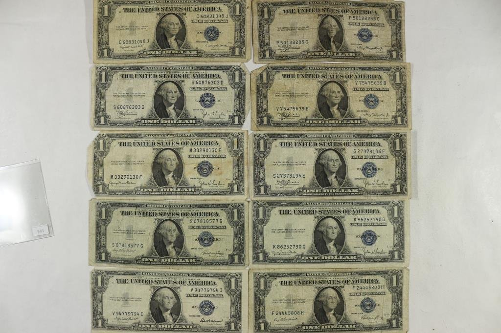 10-ASSORTED 1935 $1 SILVER CERTIFICATES INCLUDES