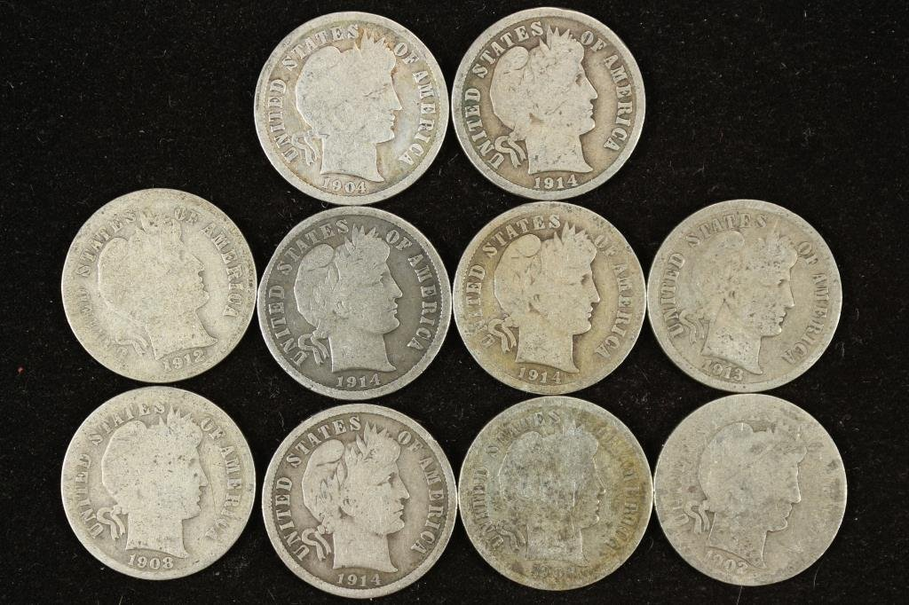 10 ASSORTED BARBER DIMES