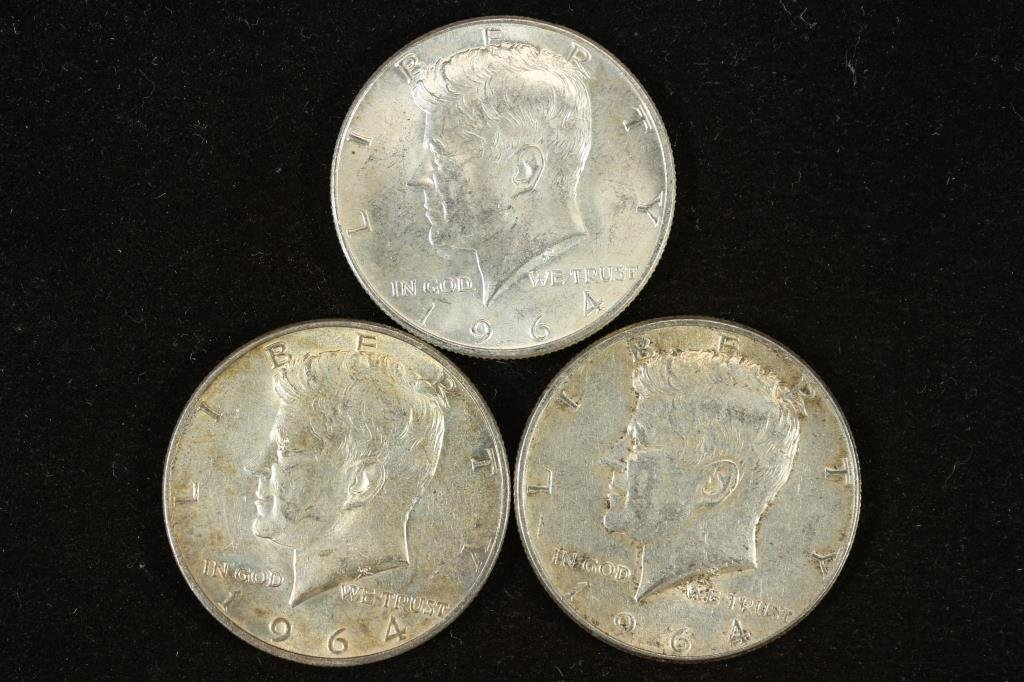 3 ASSORTED 1964 SILVER 90% SILVER KENNEDY HALVES