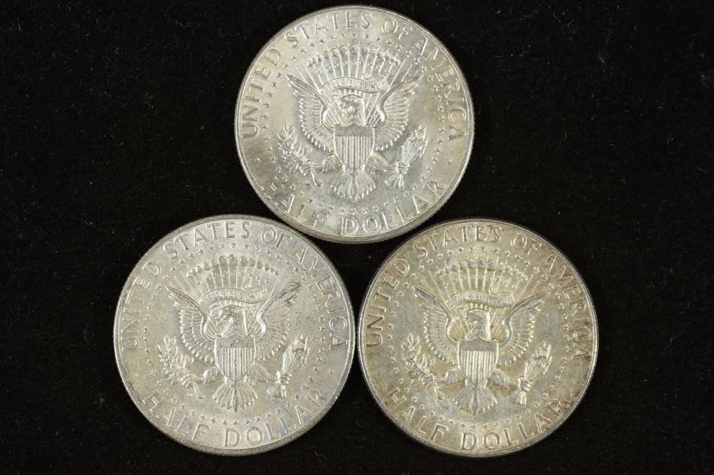 3 ASSORTED 1964 SILVER 90% SILVER KENNEDY HALVES - 2