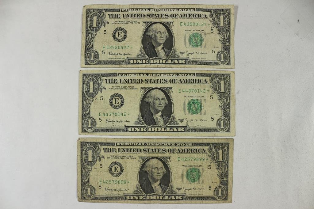 3-1963 JOSEPH W. BARR $1 FRN'S, STAR NOTES