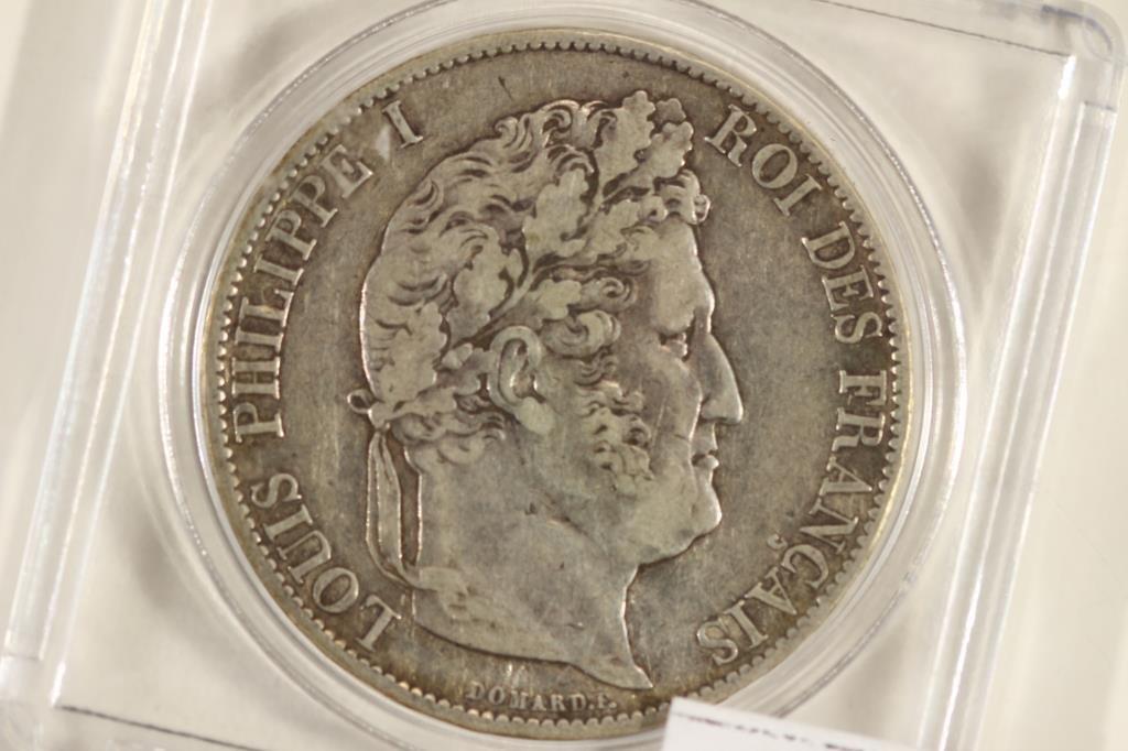 1847 FRANCE SILVER 5 FRANCS VERY FINE