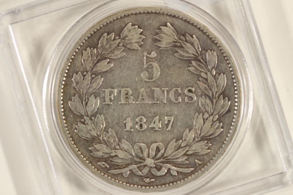 1847 FRANCE SILVER 5 FRANCS VERY FINE - 2
