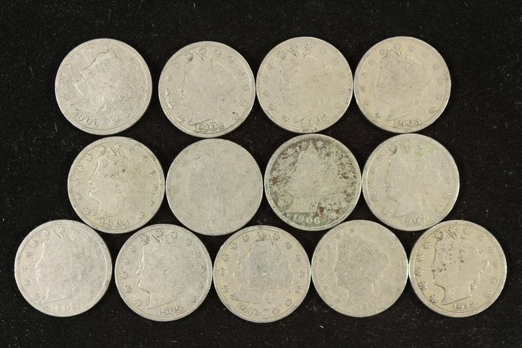 "STARTER SET OF LIBERTY ""V"" NICKELS 13 COINS"