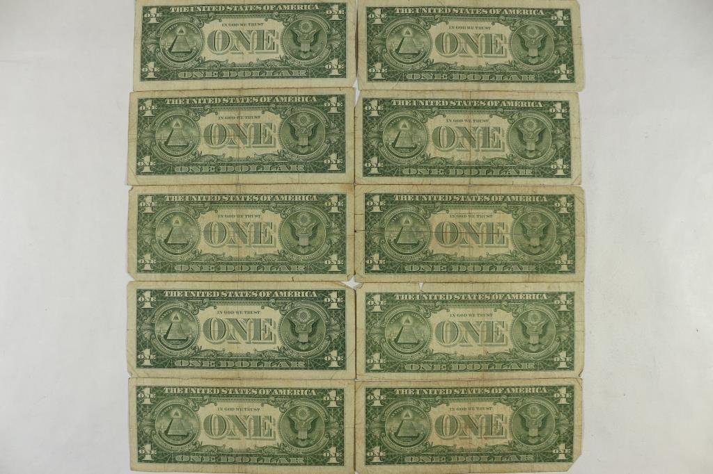 10 ASSORTED 1957 $1 SILVER CERTIFICATES - 2