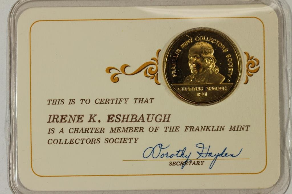STERLING SILVER FRANKLIN MINT COLLECTORS SOCIETY