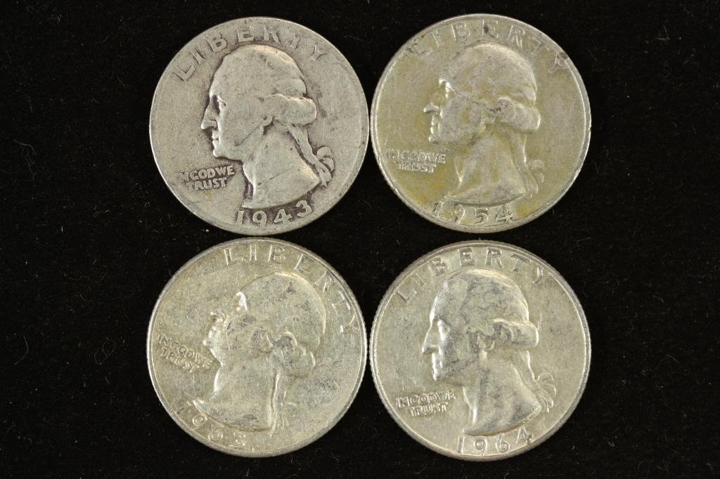1943,54-D,63 & 64 WASHINGTON SILVER QUARTERS