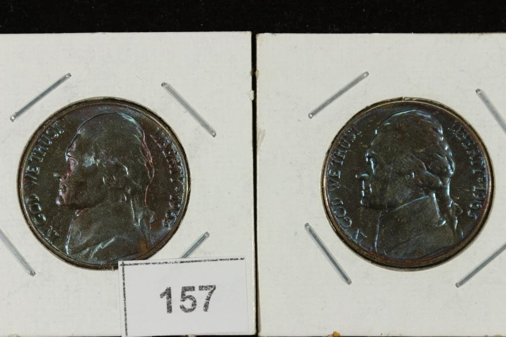 FANTASTIC BLUE TONING ON 2-1963-D JEFFERSON NICS