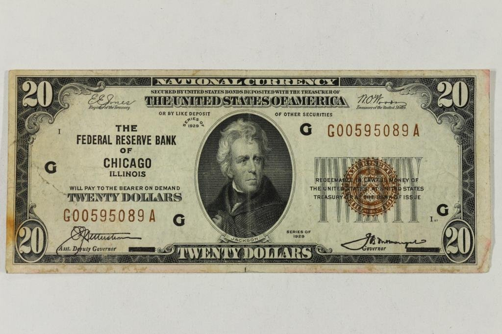 1929 $20 NATIONAL CURRENCY CHICAGO BROWN SEAL