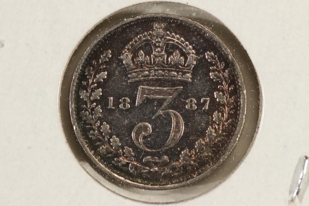 1887 GREAT BRITAIN SILVER 3 PENCE - 2