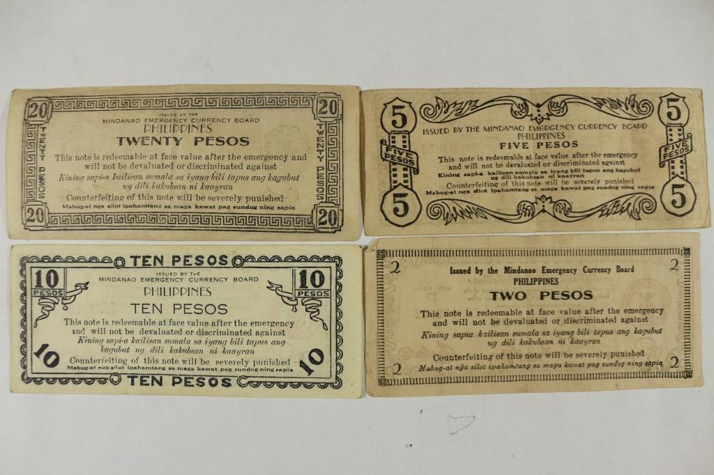 2,5,10 & 20 PESOS WWII PHILIPPINES GUERRILLA MONEY - 2