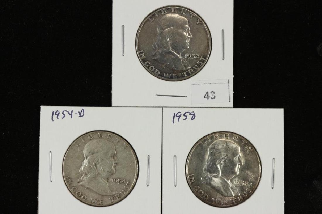 1952,54-D & 1958 FRANKLIN HALF DOLLARS