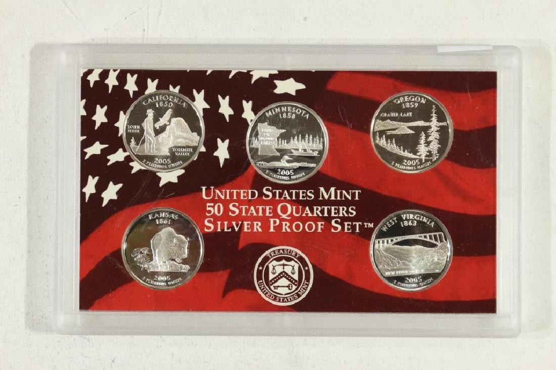 2005 US 50 STATE QUARTERS SILVER PROOF SET NO BOX