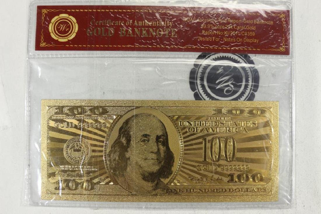 GOLD BANK NOTE $100 FRANKLIN FRN 99.9% PURE 24KT