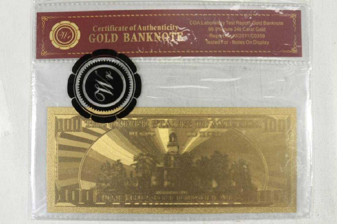 GOLD BANK NOTE $100 FRANKLIN FRN 99.9% PURE 24KT - 2