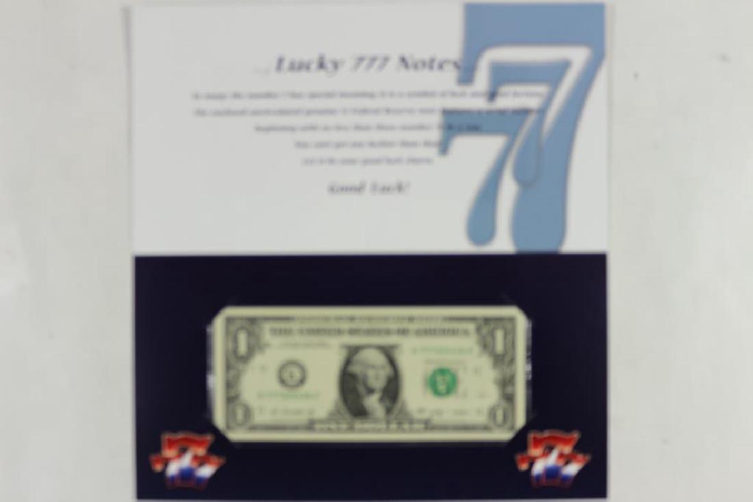 LUCKY 777-2009 $1 FRN CRISP UNC SERIAL NUMBER