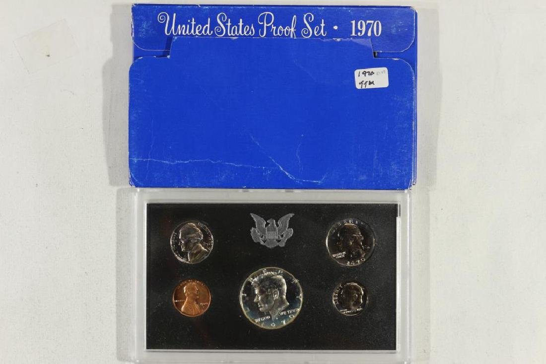 1970 US PROOF SET WITH BOX, 40% SILVER JFK HALF