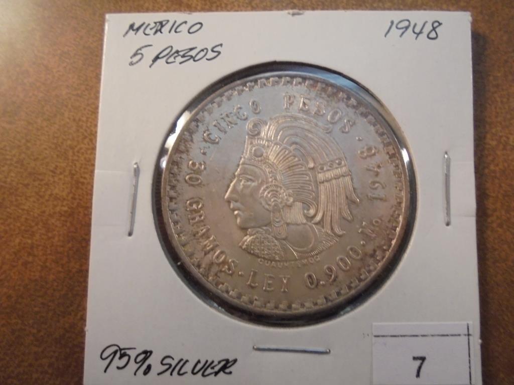 1948 MEXICO SILVER 5 PESOS .8680 OZ. ASW