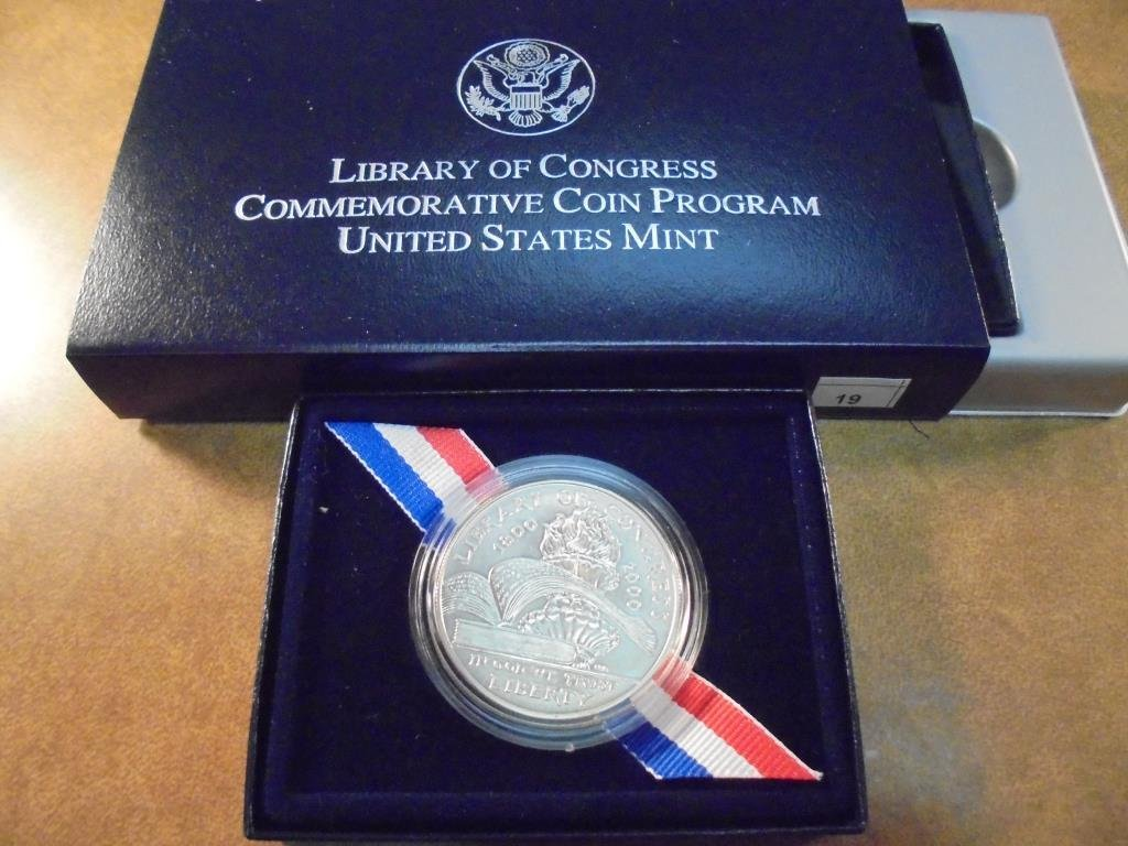 2000-P LIBRARY OF CONGRESS UNC SILVER DOLLAR ORIGINAL