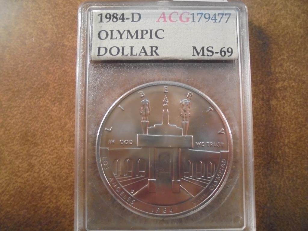 1984-D OLYMPIC SILVER DOLLAR UNC ACG SLAB
