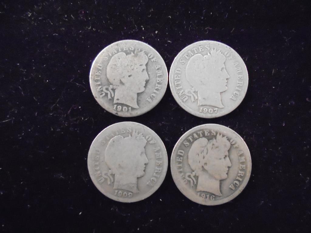 1901,07,09 & 16 BARBER DIMES