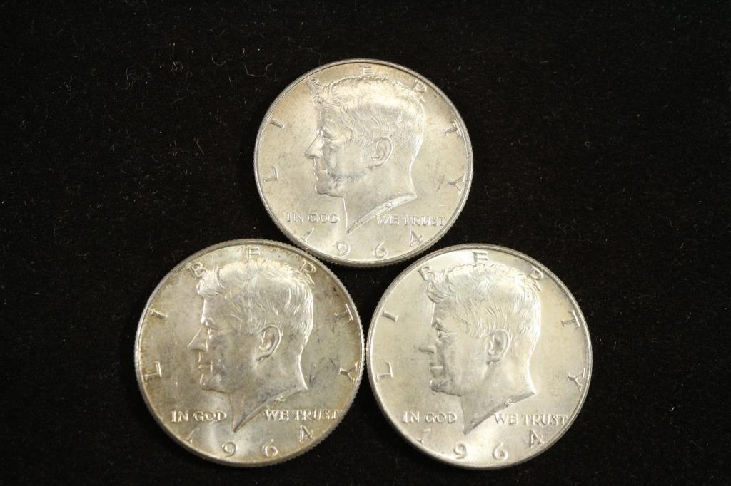 3-90% 1964 SILVER KENNEDY HALF DOLLARS