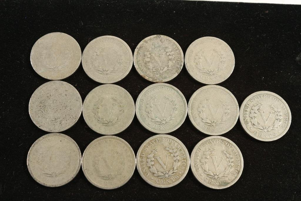 "RUN OF 1900-1912 LIBERTY ""V"" NICKELS 13 COINS - 2"