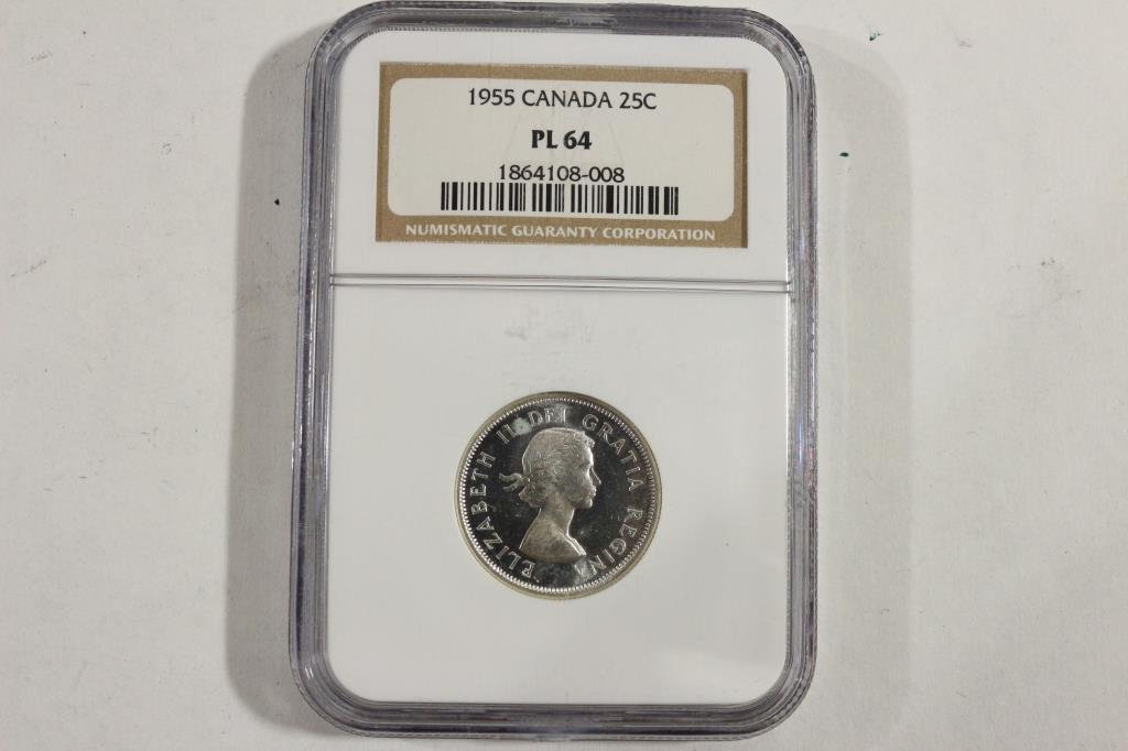 1955 CANADA SILVER 25 CENT NGC PL64