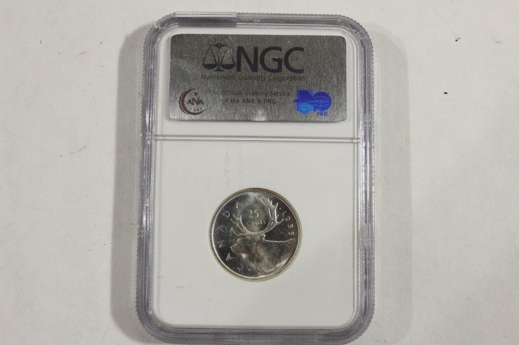 1955 CANADA SILVER 25 CENT NGC PL64 - 2