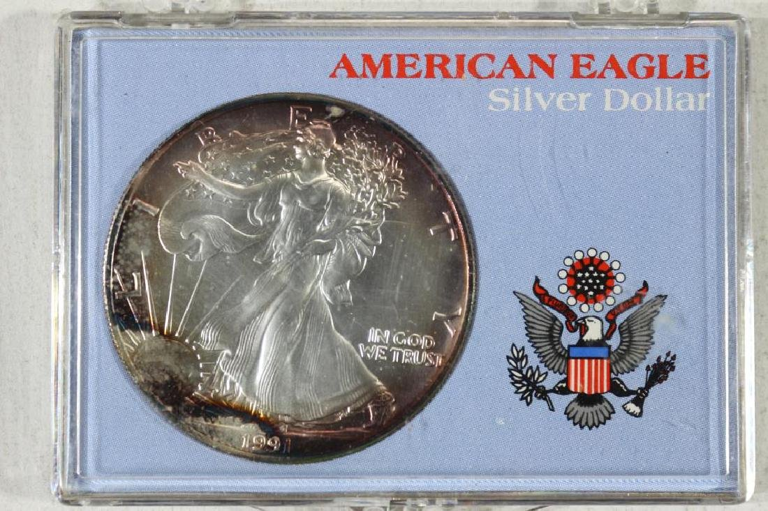 1991 AMERICAN SILVER EAGLE TONING
