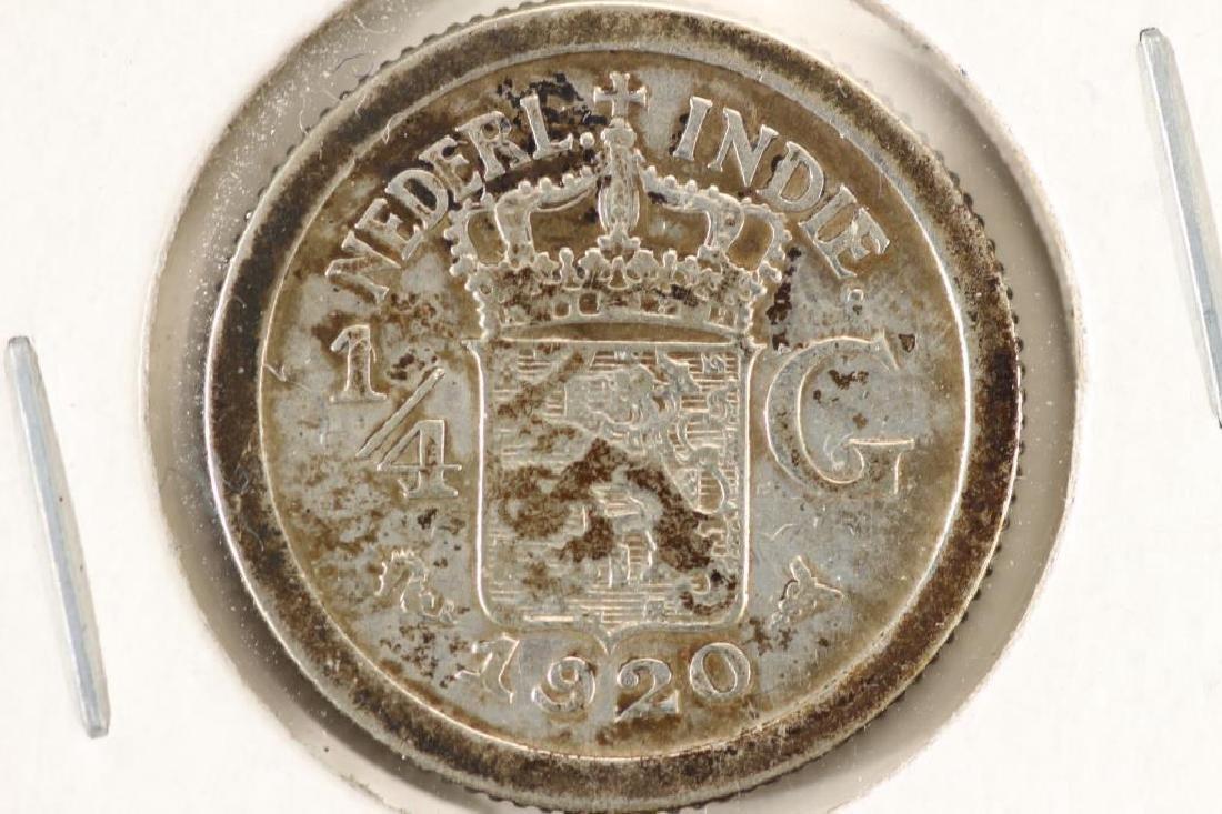 1920 NETHERLAND INDONESIA SILVER 1/4 GULDEN
