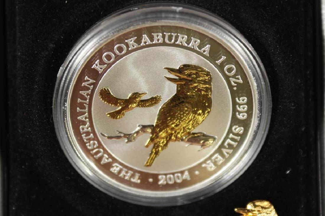 2004 AUSTRALIA $1 1 OZ. SILVER GILDED KOOKABURRA