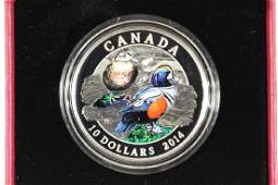 2014 CANADA $10 FINE SILVER COIN COLORIZED PROOF