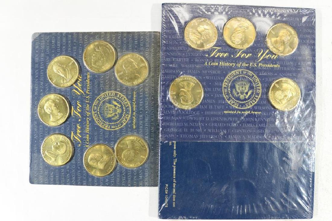 12 ASSORTED BRASS US PRESIDENT MEDALS
