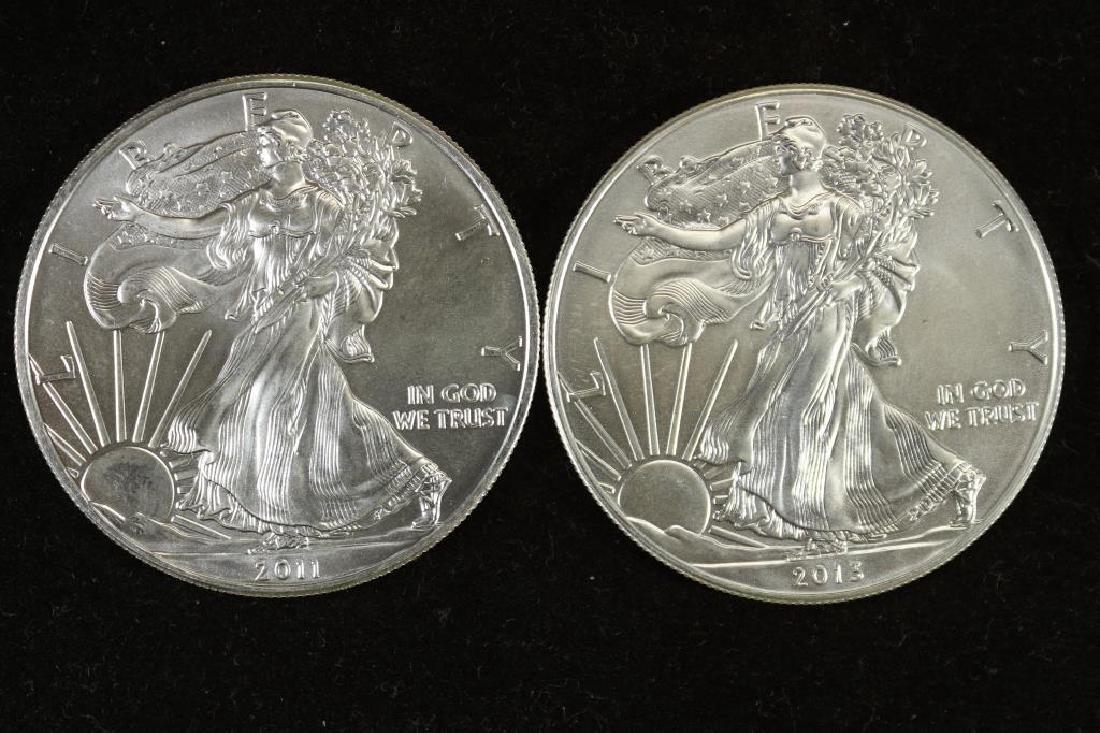 2011 & 2013 AMERICAN SILVER EAGLES UNC