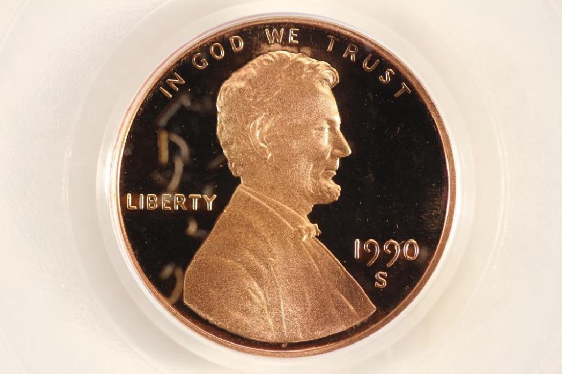 1990-S LINCOLN CENT PCGS PR69RD DCAM