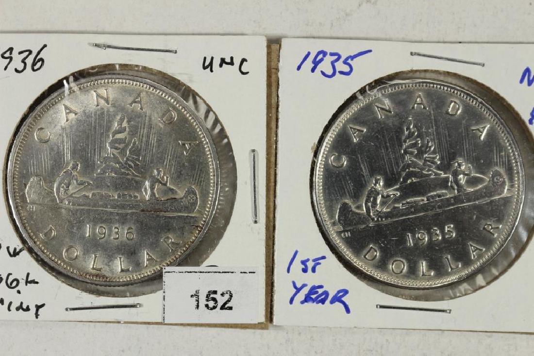 1935 UNC & 1936 AU CANADA SILVER DOLLARS