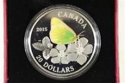 2015 CANADA FINE SILVER COIN COLORIZED PROOF