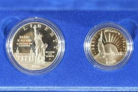 1986-S STATUE OF LIBERTY 2 COIN PROOF SET