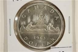 1963 CANADA SILVER DOLLAR UNC