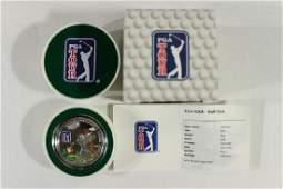 2013 COOK ISLANDS $5 SILVER PROOF PGA GOLF CLUB