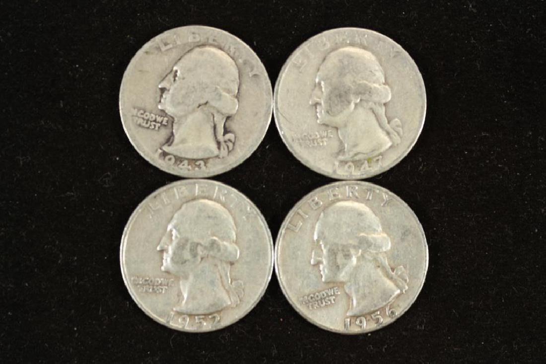 1943-D,47-D,52-D & 56 WASHINGTON SILVER QUARTERS