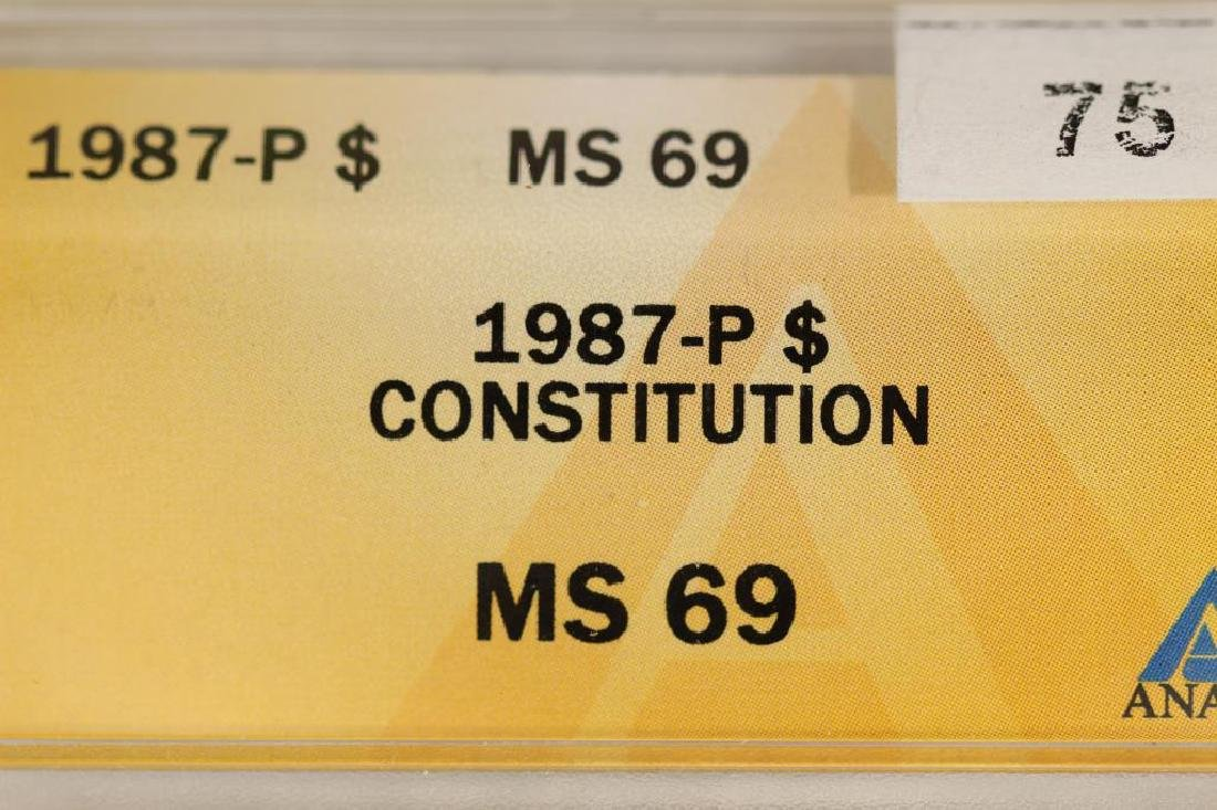 1987-P CONSTITUTION SILVER DOLLAR ANACS MS69 - 3