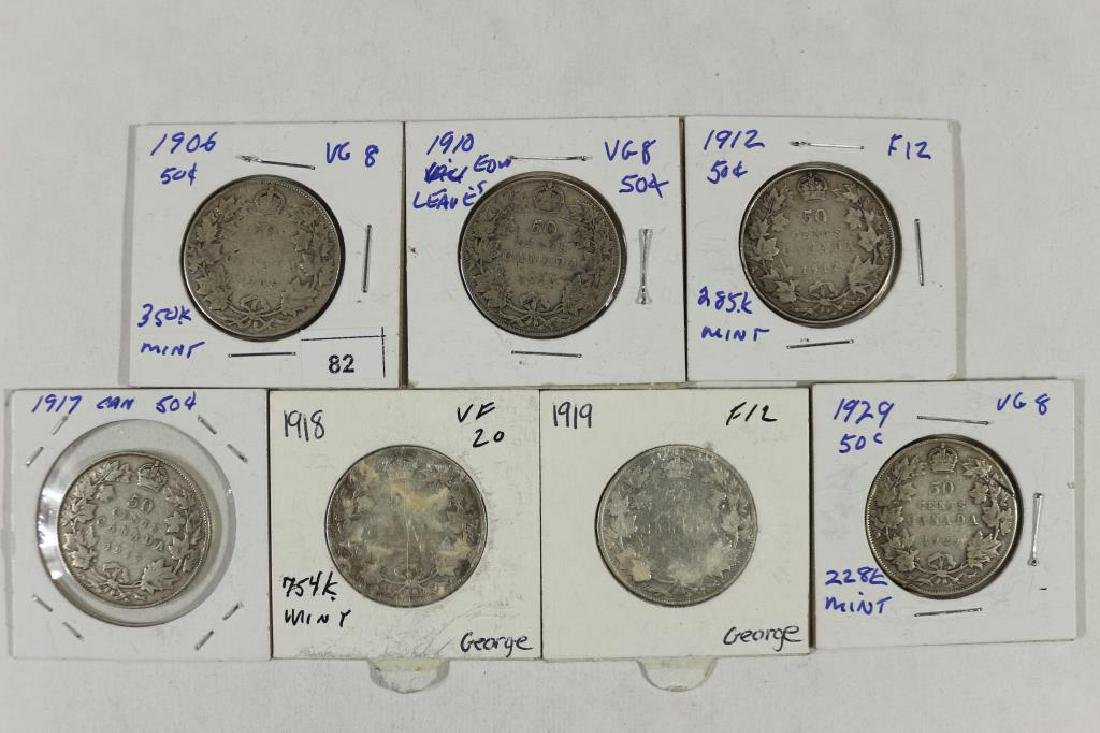 1906,10,12,17,18,19 & 29 CANADA SILVER 50 CENTS