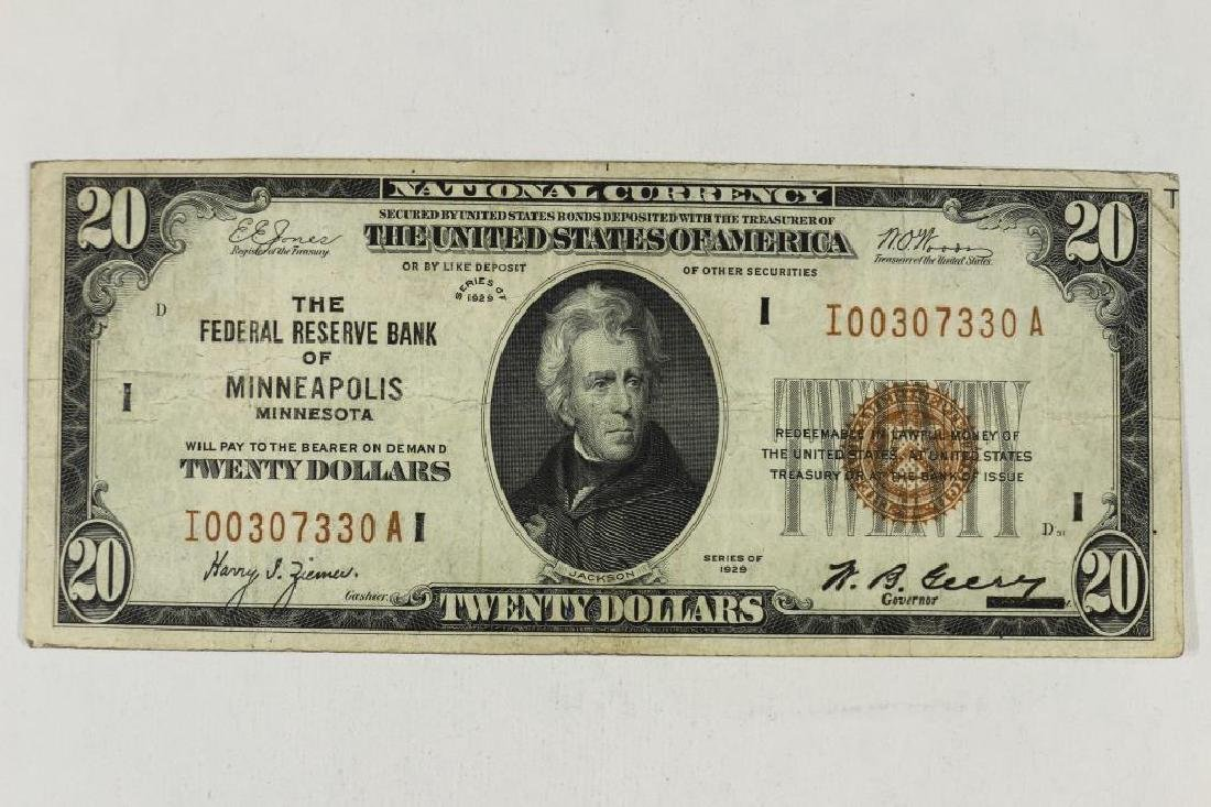 1929 $20 NATIONAL CURRENCY MINNEAPOLIS BROWN SEAL