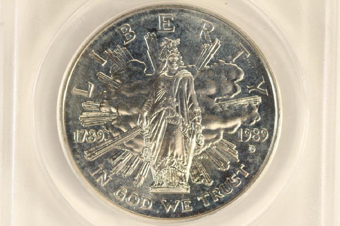 1989-D CONGRESS SILVER DOLLAR ANACS MS67