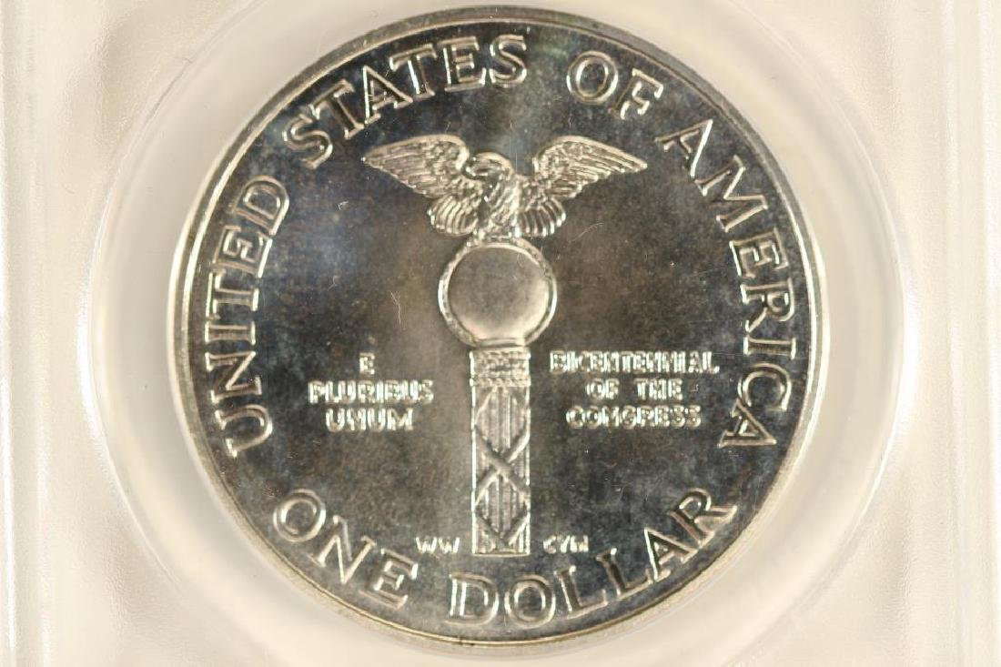 1989-D CONGRESS SILVER DOLLAR ANACS MS67 - 2