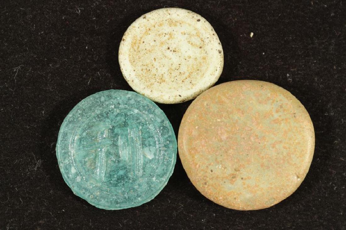 3 VINTAGE CERAMIC COINS