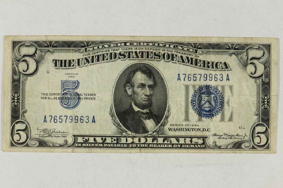 1934 $5 SILVER CERTIFICATE BLUE SEAL