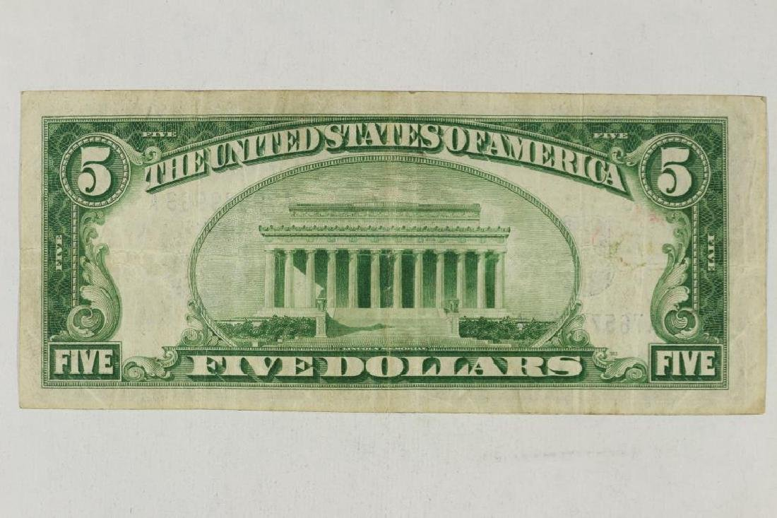 1934 $5 SILVER CERTIFICATE BLUE SEAL - 2